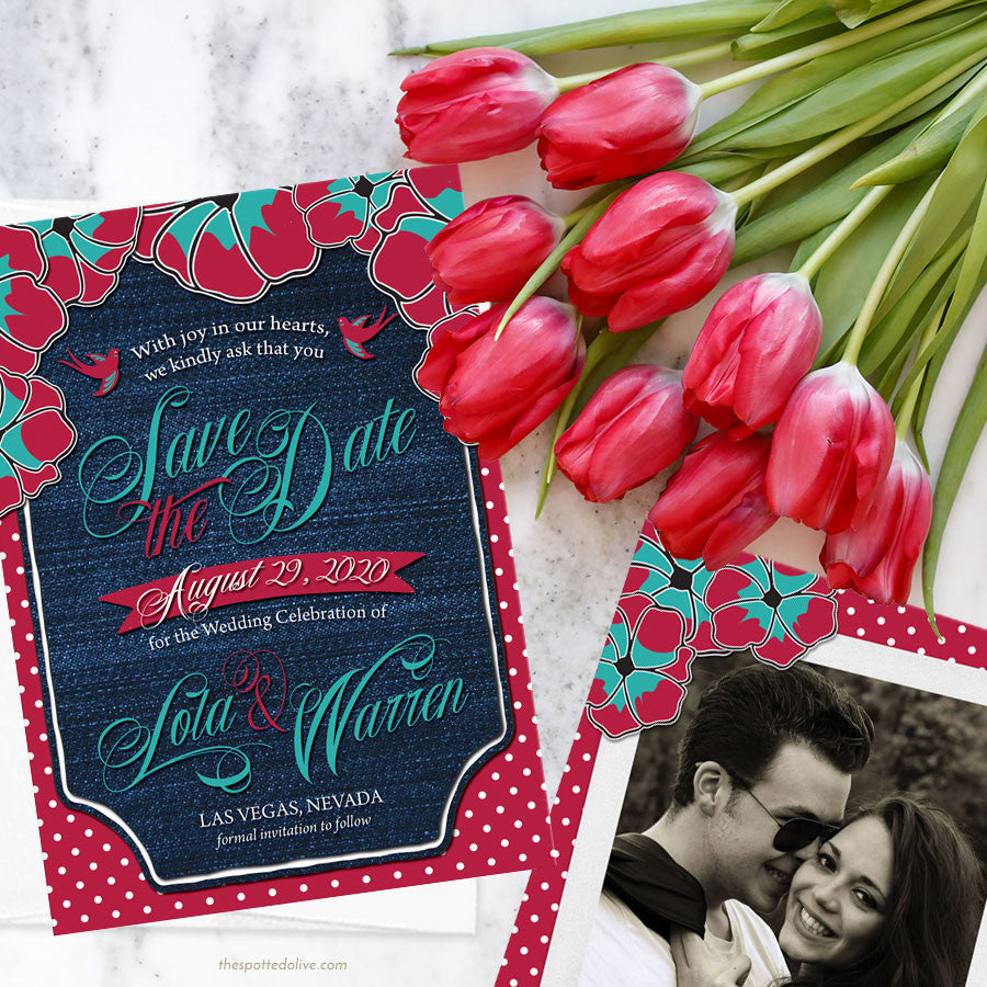 Rockabilly Denim & Polka Dots Save the Date Cards by The Spotted Olive - Scene