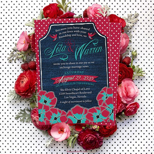 Rockabilly Denim & Polka Dots Wedding Invitations by The Spotted Olive - Scene