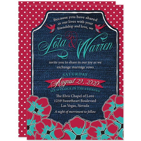 Rockabilly Denim & Polka Dots Wedding Invitations by The Spotted Olive