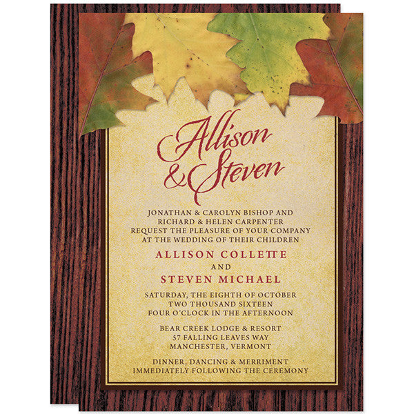 Rustic Autumn Leaves Wedding Invitations by The Spotted Olive