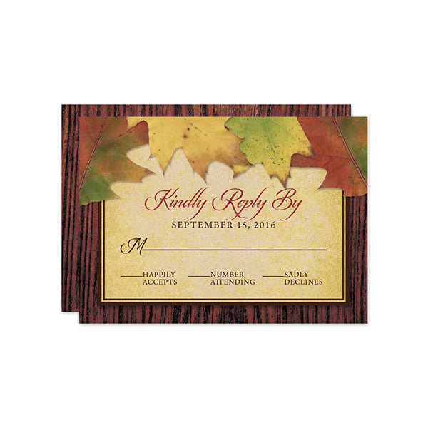 Rustic Autumn Leaves Wedding RSVP Cards by The Spotted Olive