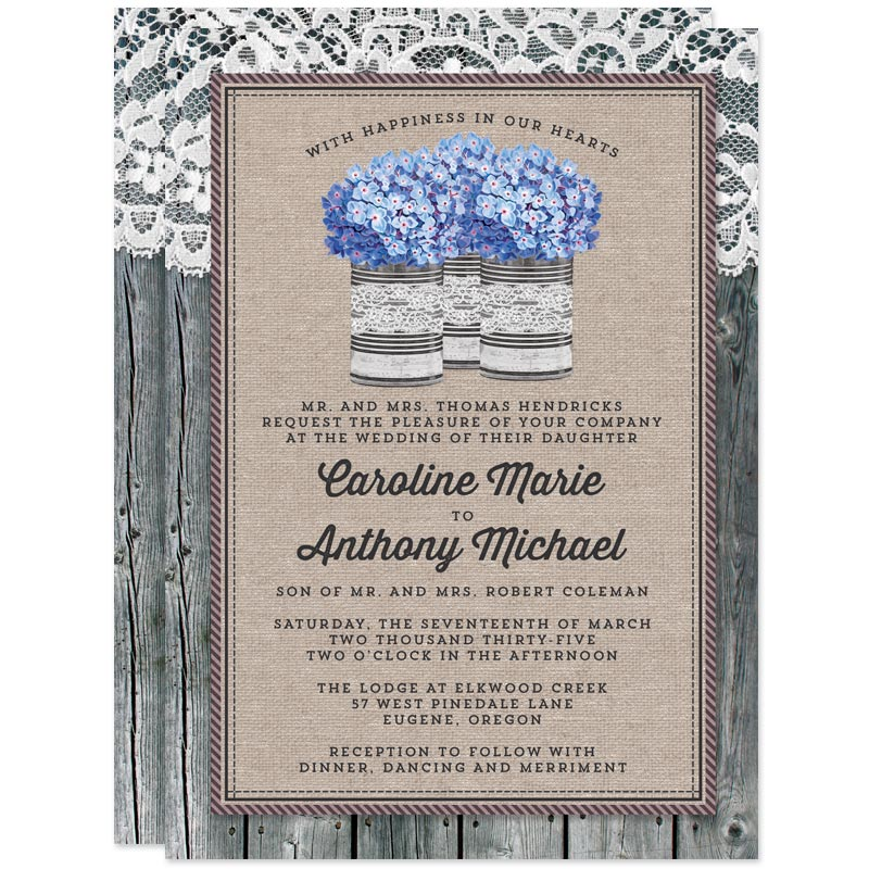 Rustic Blue Hydrangeas Wedding Invitations by The Spotted Olive