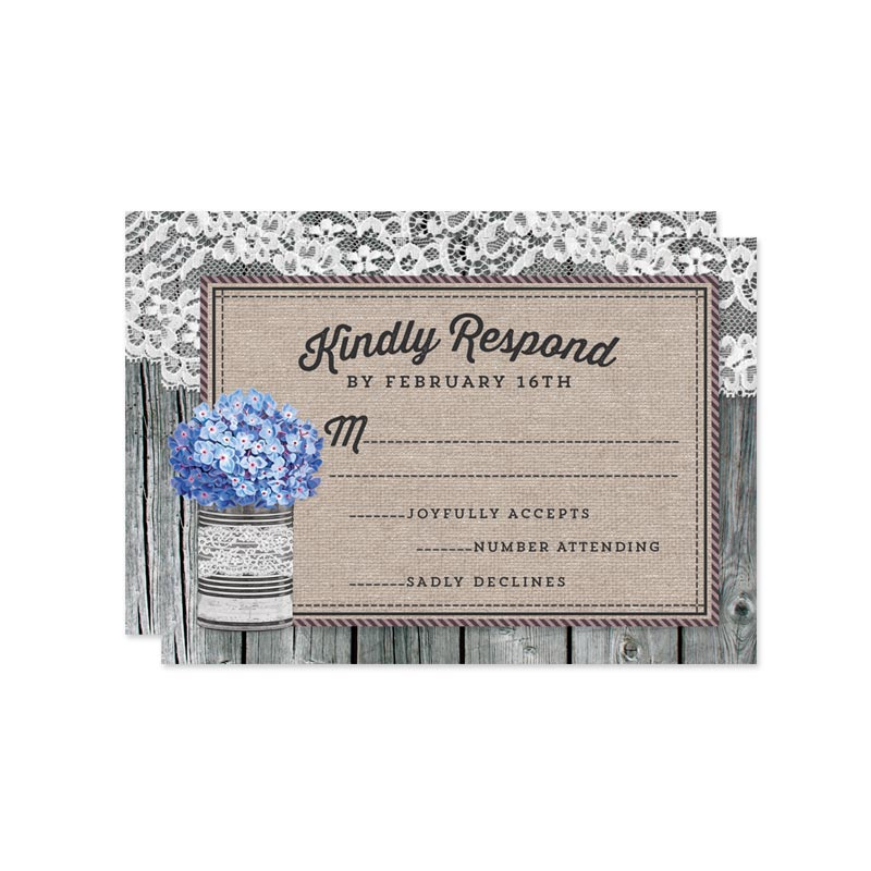 Rustic Blue Hydrangeas Wedding RSVP Cards by The Spotted Olive