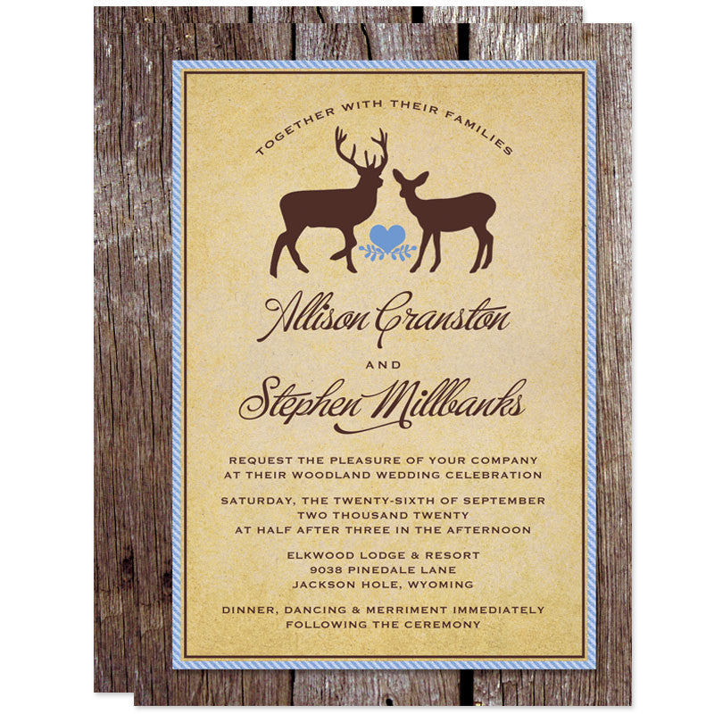 rustic deer wood wedding invitations - Wood Wedding Invitations