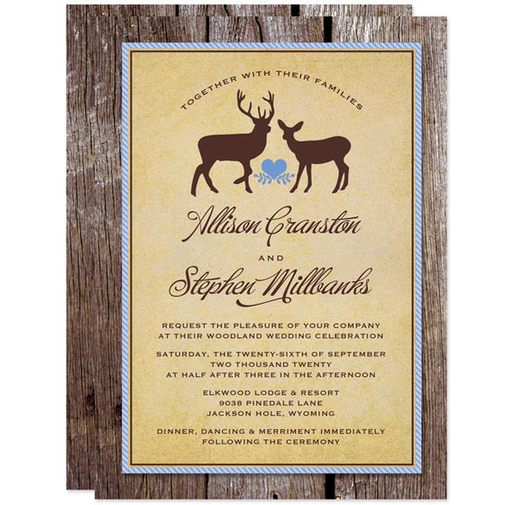 Rustic Deer & Wood Wedding Invitations