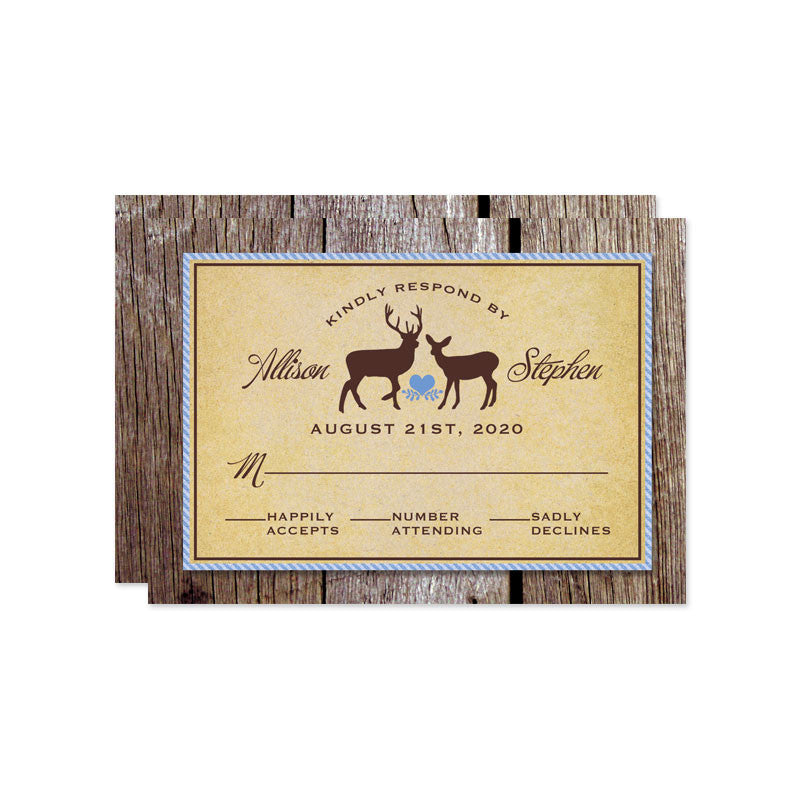 Rustic Deer & Wood Wedding RSVP Cards