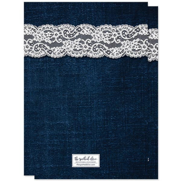 Save The Date Cards - Rustic Denim & Lace