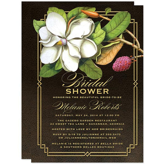 Elegant Vintage Southern Magnolia Save The Date Cards by The Spotted Olive