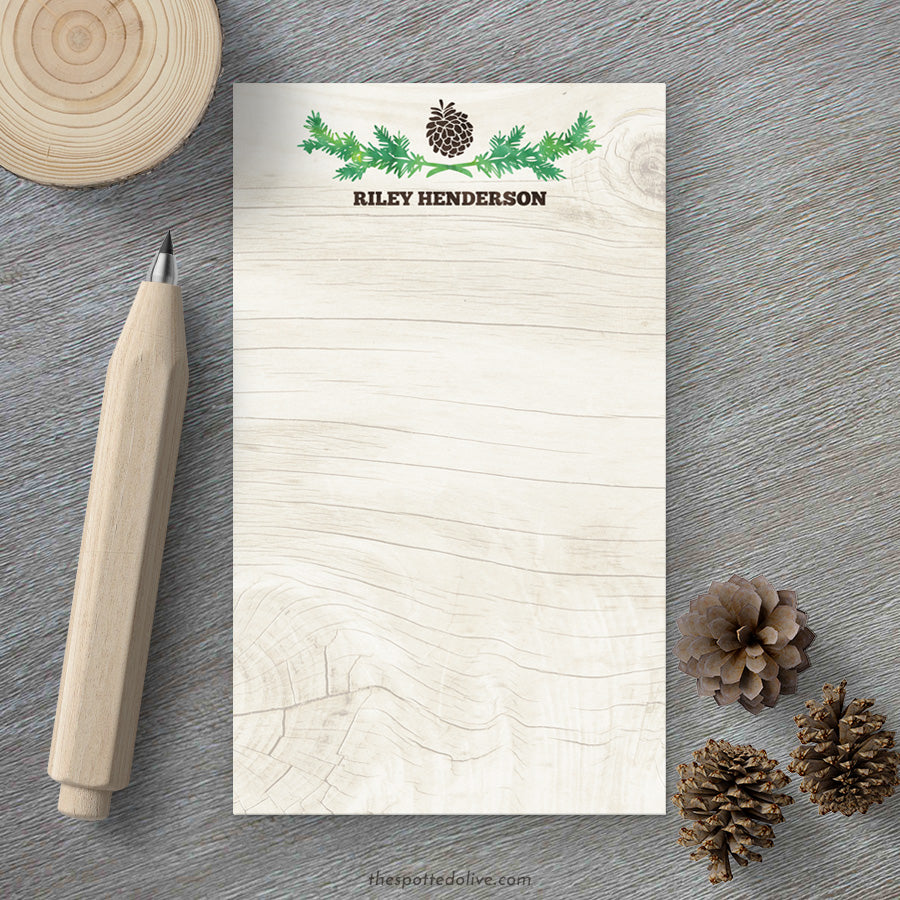 Personalized Notepads - Rustic Pinecone