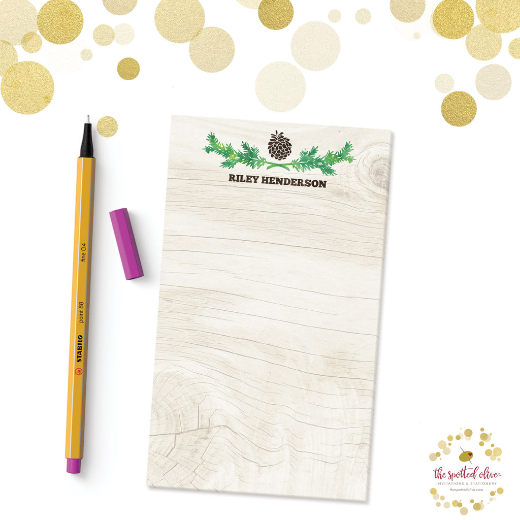Rustic Pinecone Personalized Notepads by The Spotted Olive - Branded