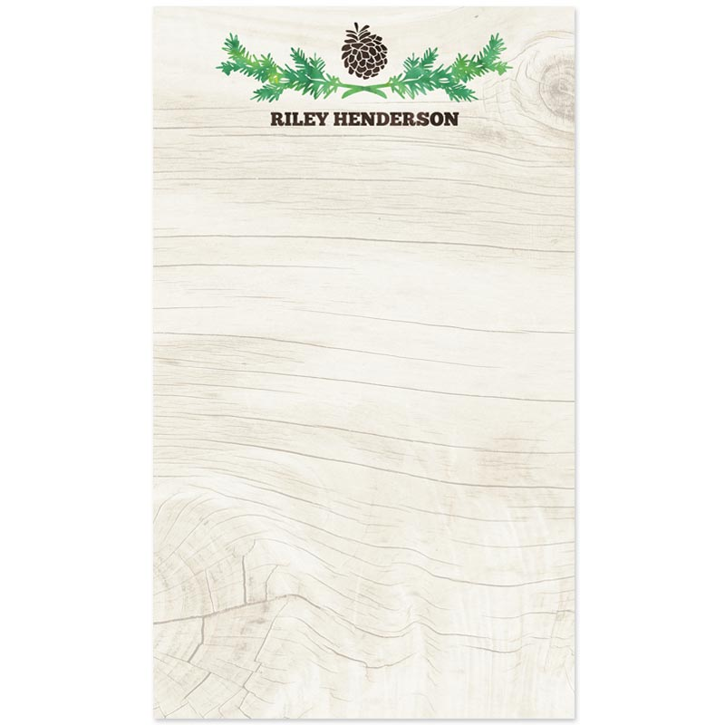 Personalized Notepads Rustic Pinecone