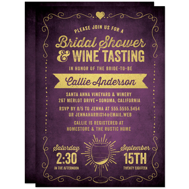 Rustic Purple & Gold Bridal Shower Wine Tasting Invitations