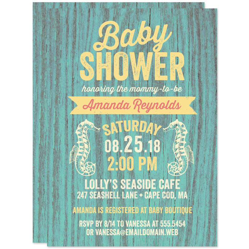 Rustic Beach Seahorses Baby Shower Invitations The Spotted Olive
