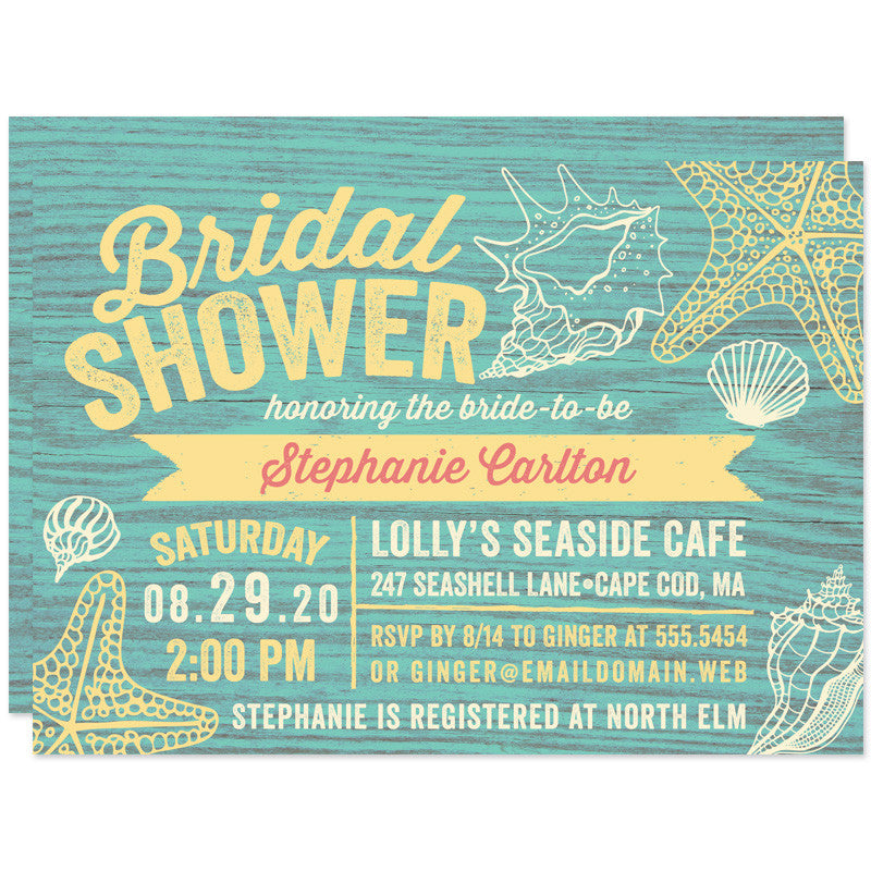 Rustic Seaside Cottage Sign Bridal Shower Invitations