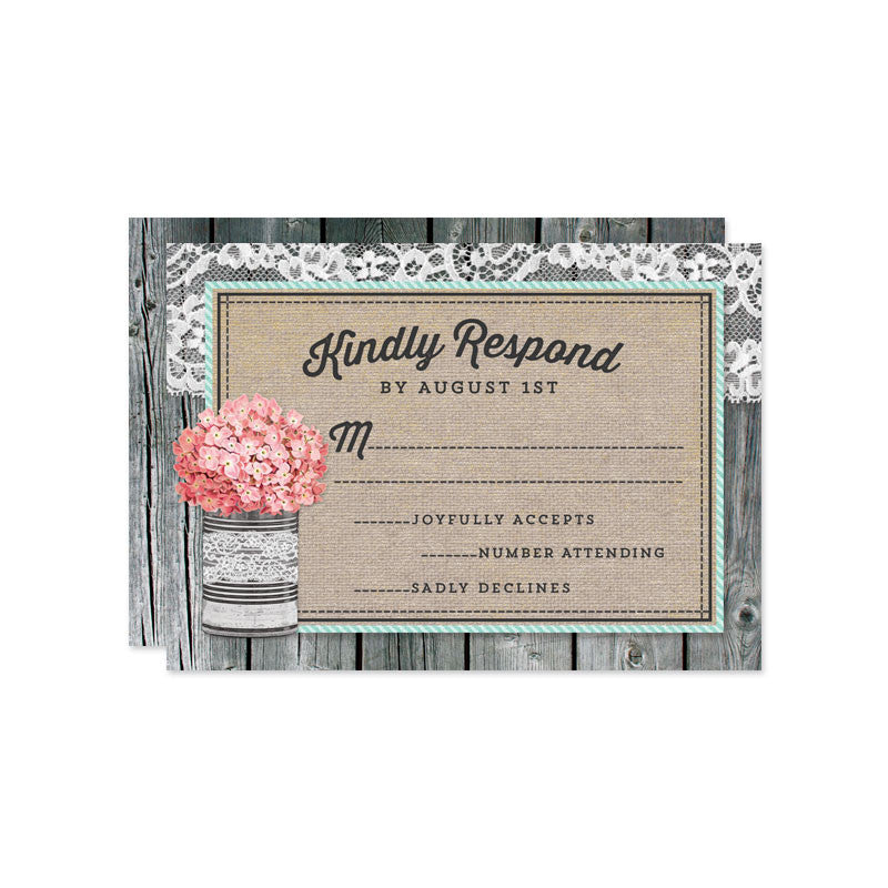 Rustic Tin Can & Hydrangeas Wedding RSVP Cards