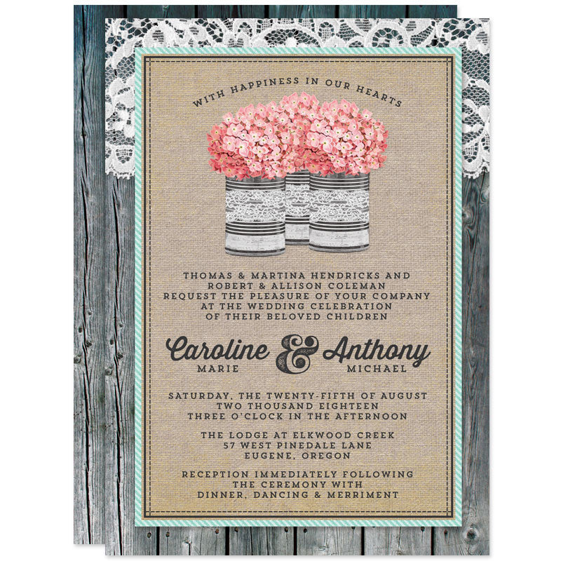 Rustic Tin Can & Hydrangeas Wedding Invitations