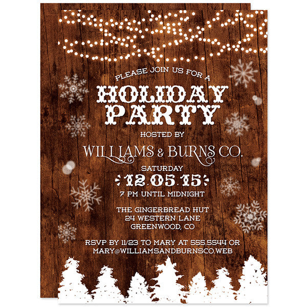 Rustic Wood & Lights Holiday Party Invitations