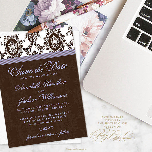 Victorian Romance Save The Dates by The Spotted Olive as seen on Pretty Little Liars - Scene