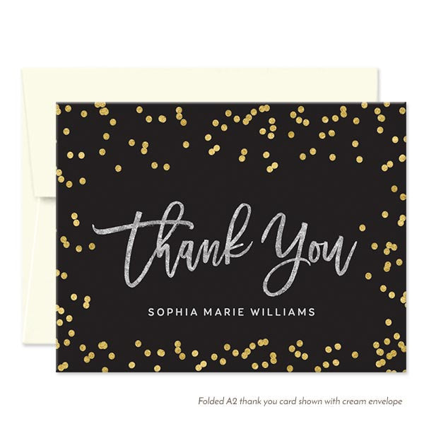 Silver Gold & Black Thank You Cards by The Spotted Olive - Cream Envelopes