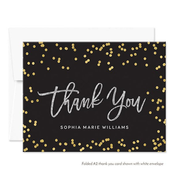 Silver Gold & Black Thank You Cards by The Spotted Olive - White Envelopes