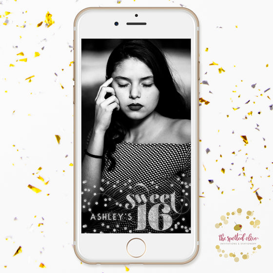 Silver Confetti Sweet 16 Personalized Snapchat Geofilter by The Spotted Olive