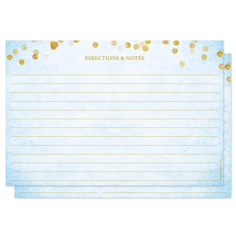 Sky Blue & Gold Confetti Recipe for the Bride Cards by The Spotted Olive - Back