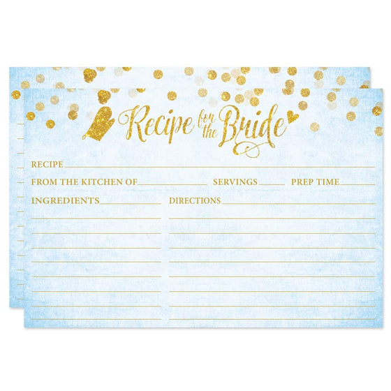 Sky Blue & Gold Confetti Recipe for the Bride Cards by The Spotted Olive