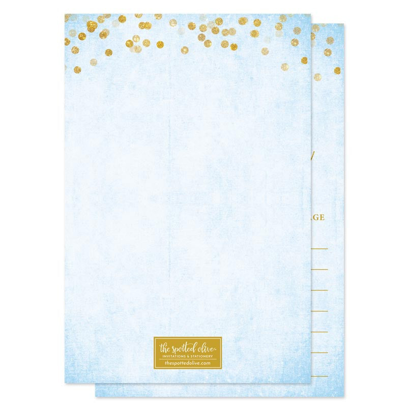 Sky Blue & Gold Confetti Advice for The Bride Cards by The Spotted Olive - Back