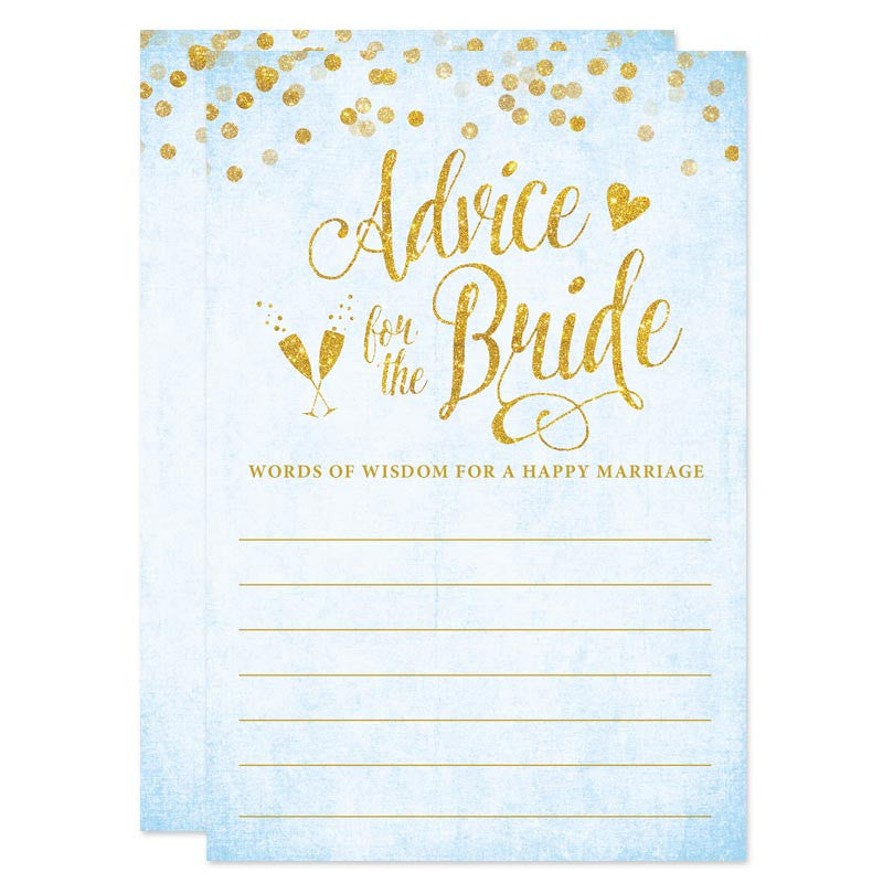 Sky Blue & Gold Confetti Advice for The Bride Cards by The Spotted Olive