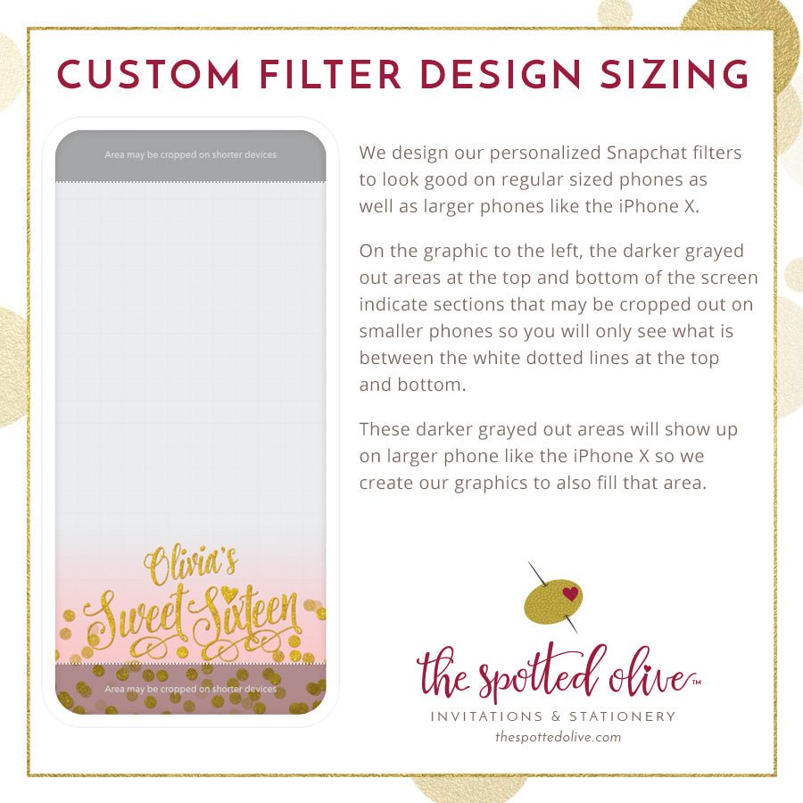 Personalized Snapchat Geofilter - Paris Blush & Gold Confetti Sweet 16