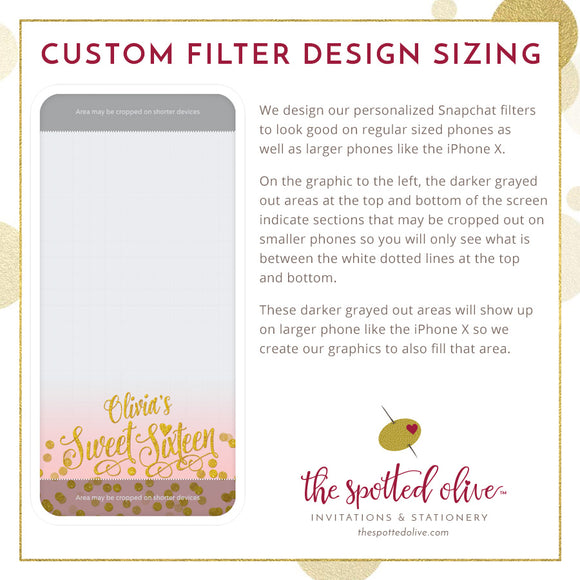 Paris Lavender & Gold Confetti Sweet 16 Personalized Snapchat Geofilter by The Spotted Olive