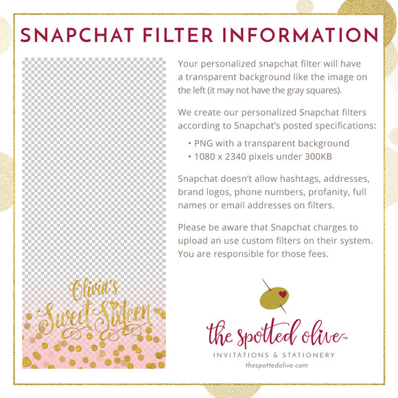 Blush Pink & Silver Confetti Sweet 16 Personalized Snapchat Geofilter by The Spotted Olive