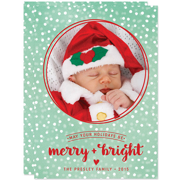 Snowy Merry + Bright Christmas Holiday Photo Cards by The Spotted Olive
