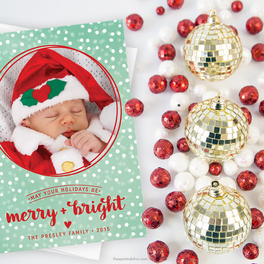 Snowy Merry + Bright Christmas Holiday Photo Cards by The Spotted Olive - Scene
