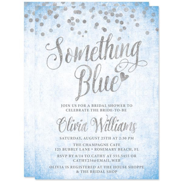 bridal shower invitations silver confetti something blue