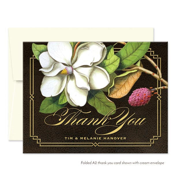 Southern Magnolia Thank You Cards by The Spotted Olive - Cream Envelopes