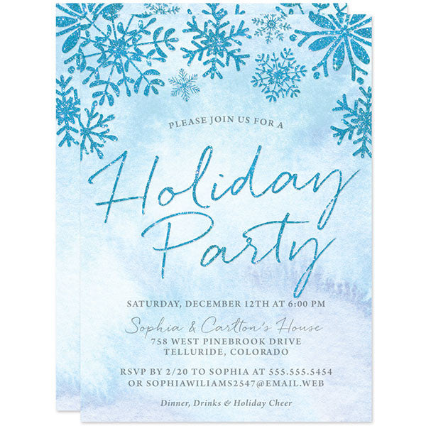 Sparkle Snowflake Holiday Party Invitations by The Spotted Olive