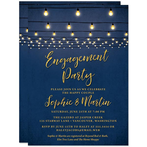 Engagement Party Invitations - Navy & Gold String Lights