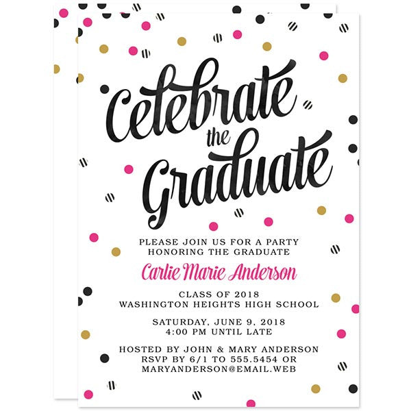 Striped Confetti Graduation Party Invitations by The Spotted Olive