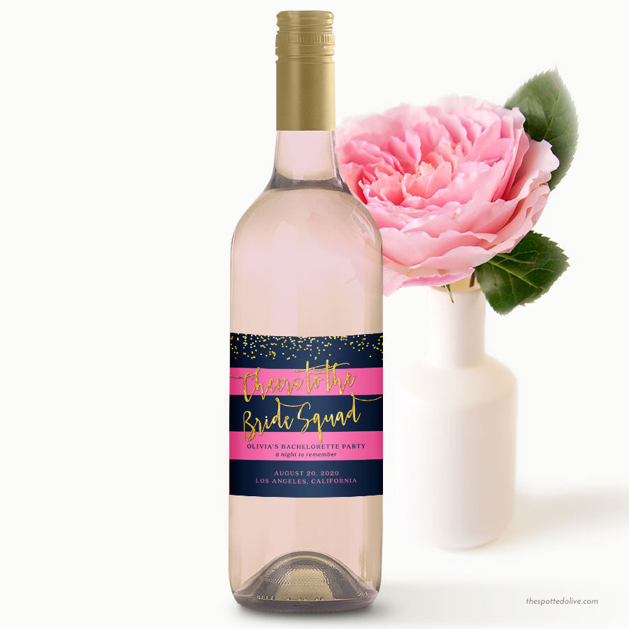 Striped Navy & Pink Bachelorette Party Wine Labels by The Spotted Olive - Scene