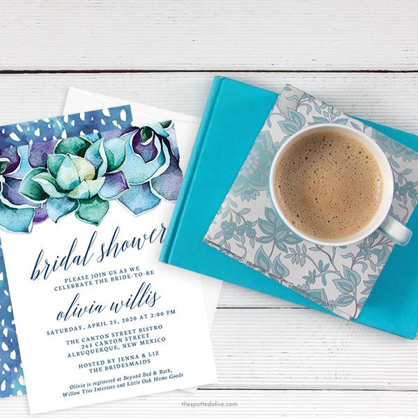 Succulent Garden Bridal Shower Invitations by The Spotted Olive - Scene