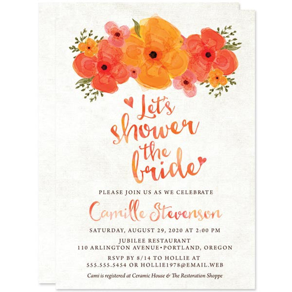 Summer Garden Floral Bridal Shower Invitations by The Spotted Olive
