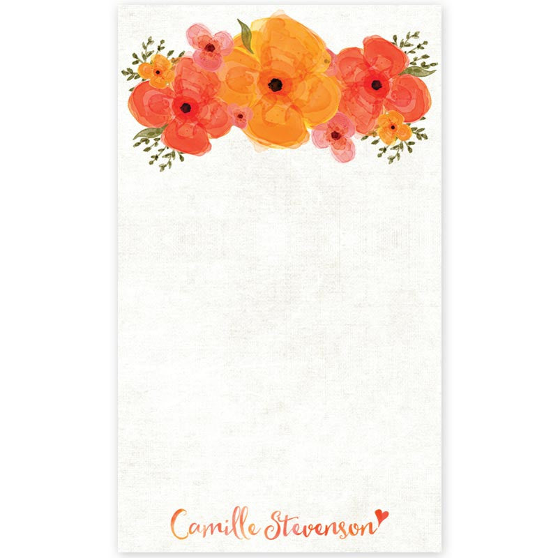 Summer Garden Floral Personalized Notepads by The Spotted Olive