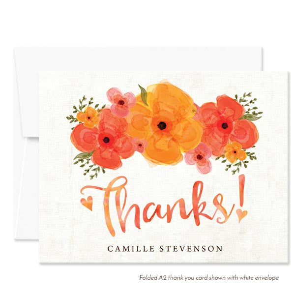 Summer Garden Florals Thank You Cards by The Spotted Olive - White Envelopes