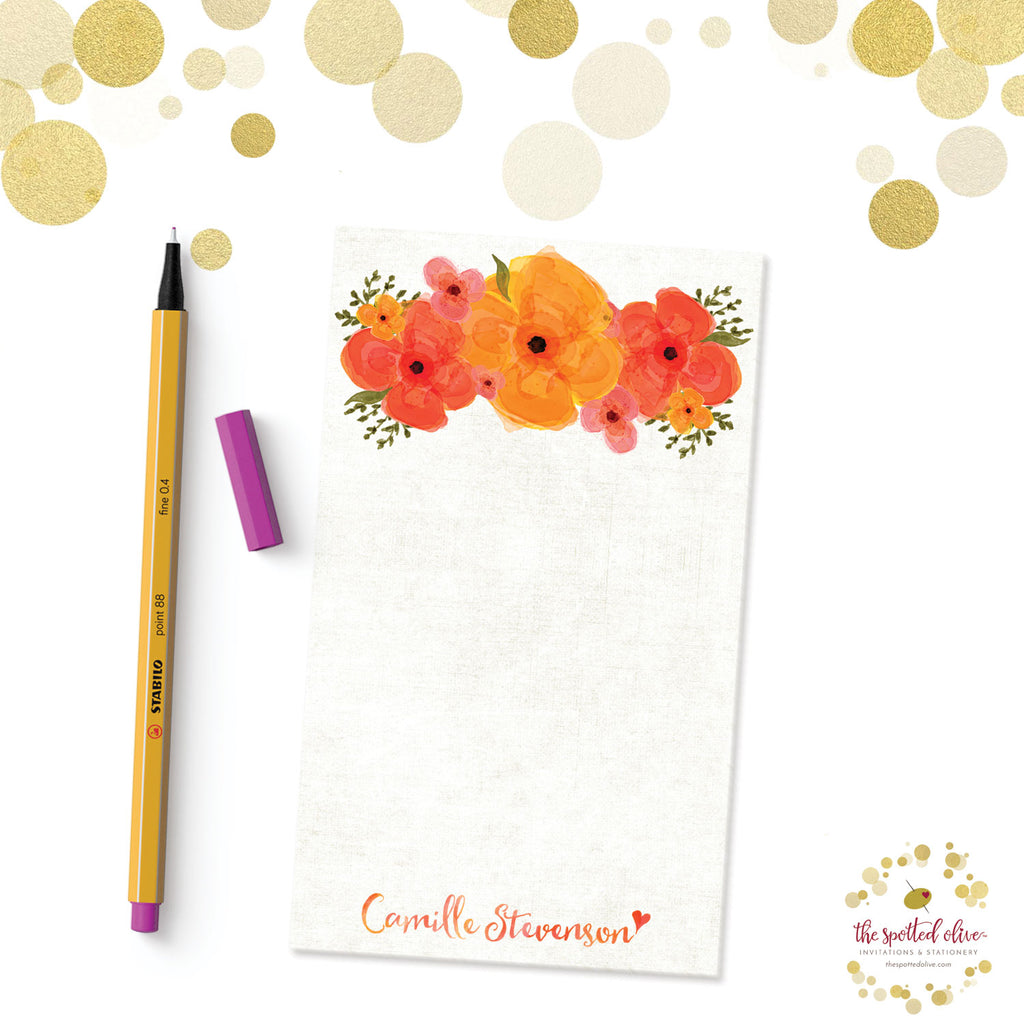 Summer Garden Floral Personalized Notepads by The Spotted Olive - Branded
