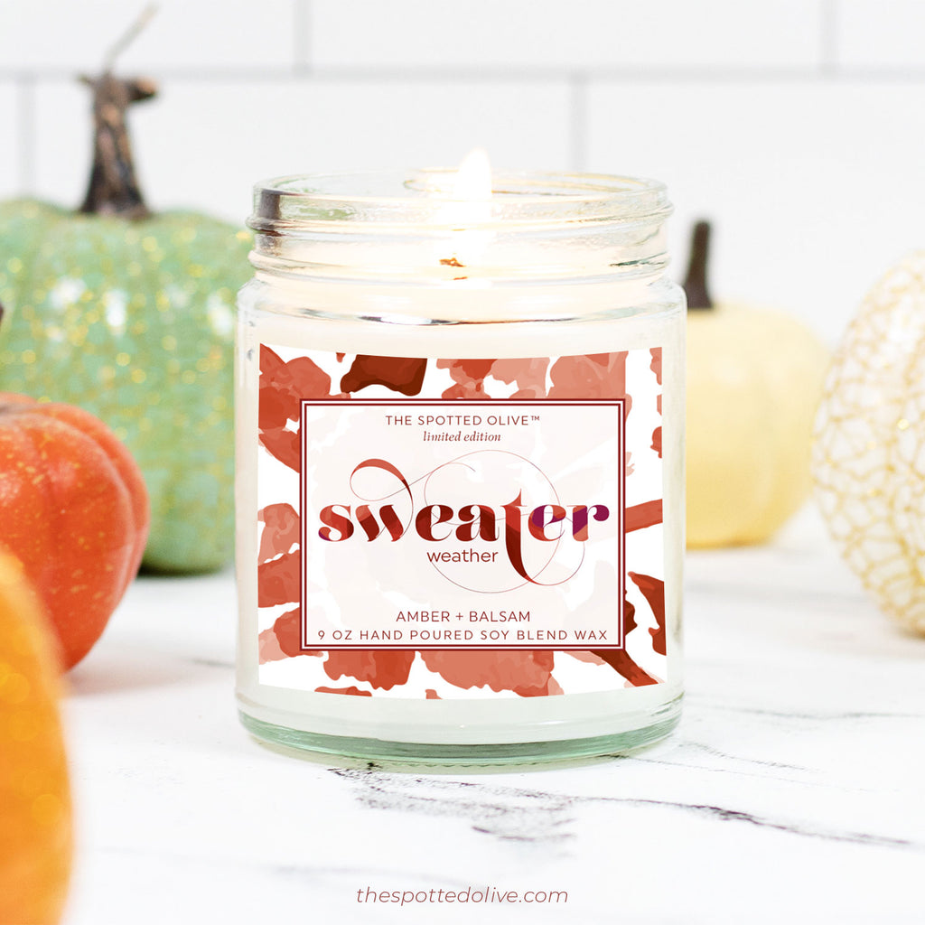 Sweater Weather Candle by The Spotted Olive - Amber + Balsam