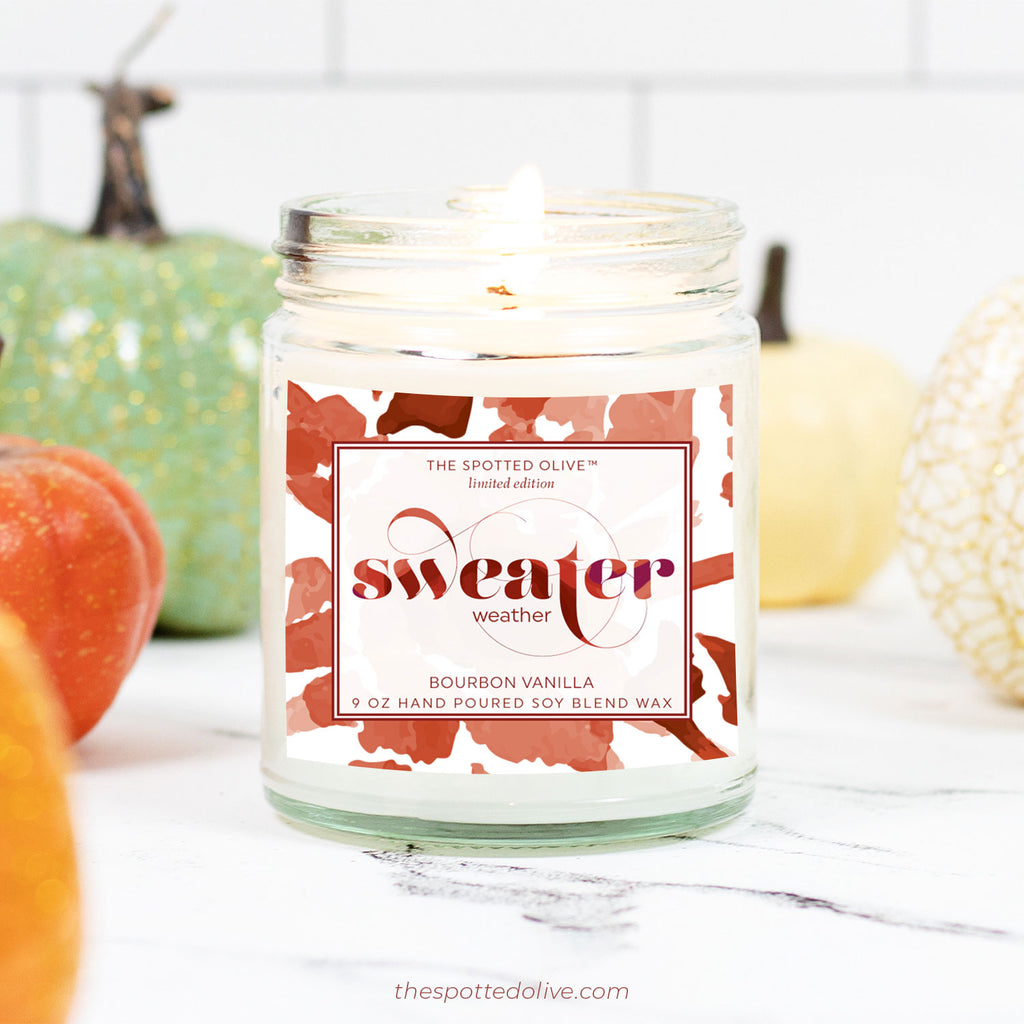 Sweater Weather Candle by The Spotted Olive - Bourbon Vanilla