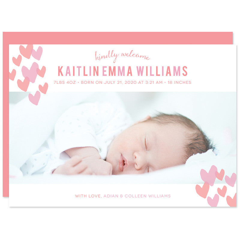 Sweet Hearts Photo Baby Birth Announcements