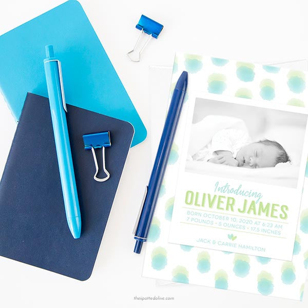 Blue & Green Sweet Watercolor Dots Birth Announcements - Scene