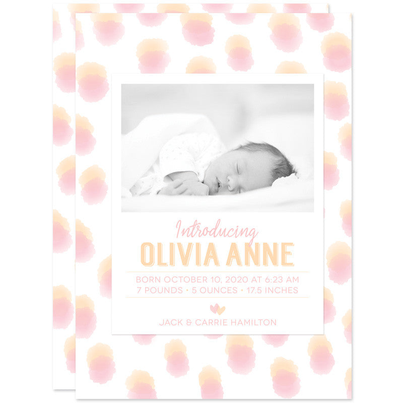 Pink & Peach Sweet Watercolor Dots Birth Announcements